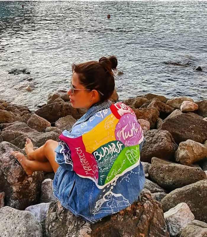 Cazadora Vaquera borrego personalizada Around the world