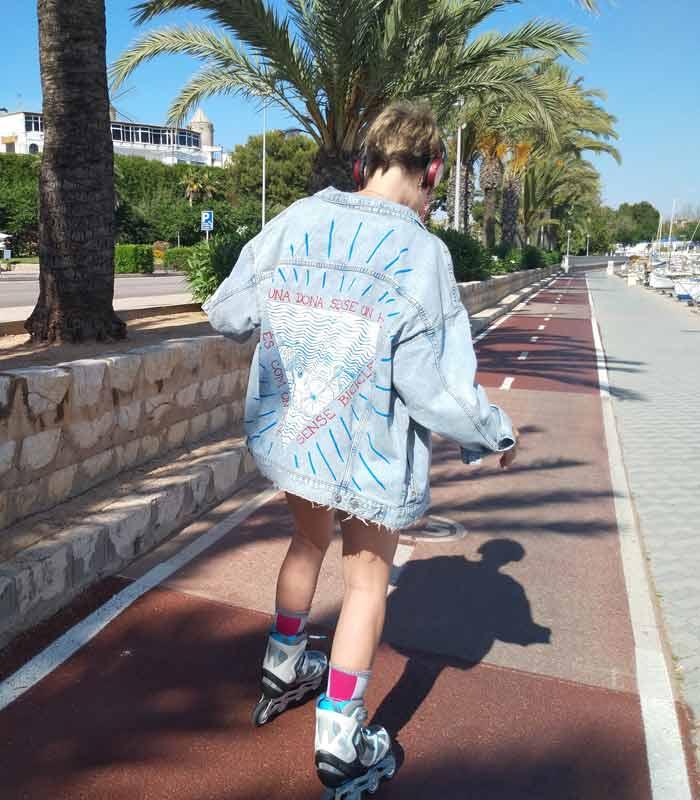 Chaqueta vaquera borrego Peces y bicicletas