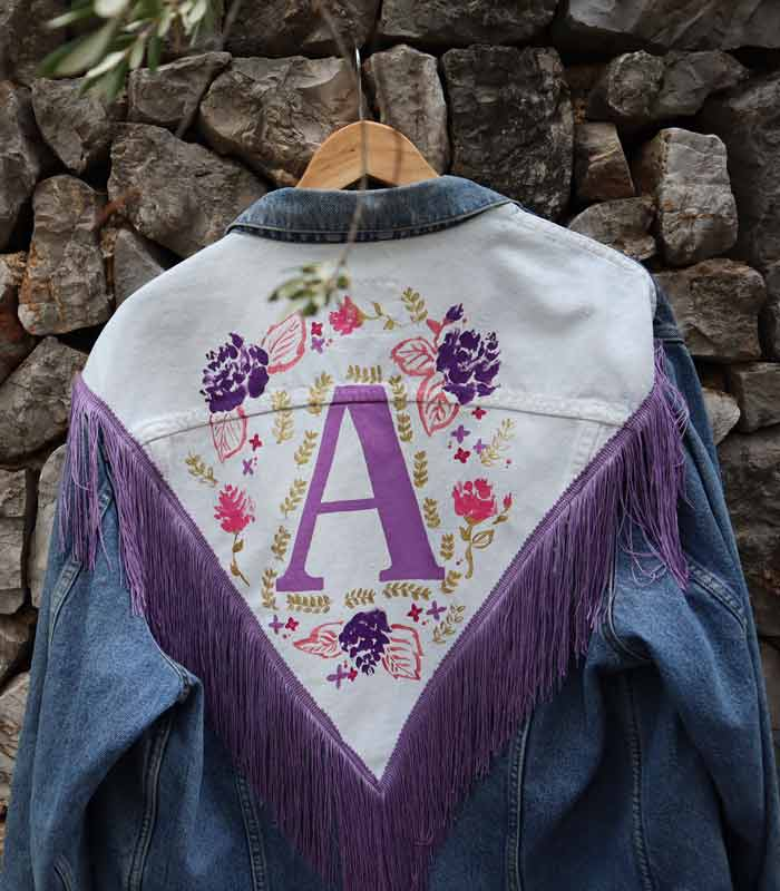 Chaqueta tejana customizada manton manila Lila